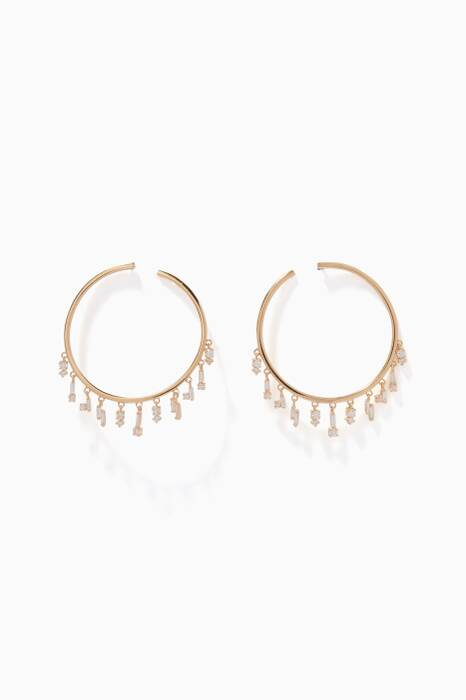 Yellow-Gold & White Diamond Baguette Hoop Earrings