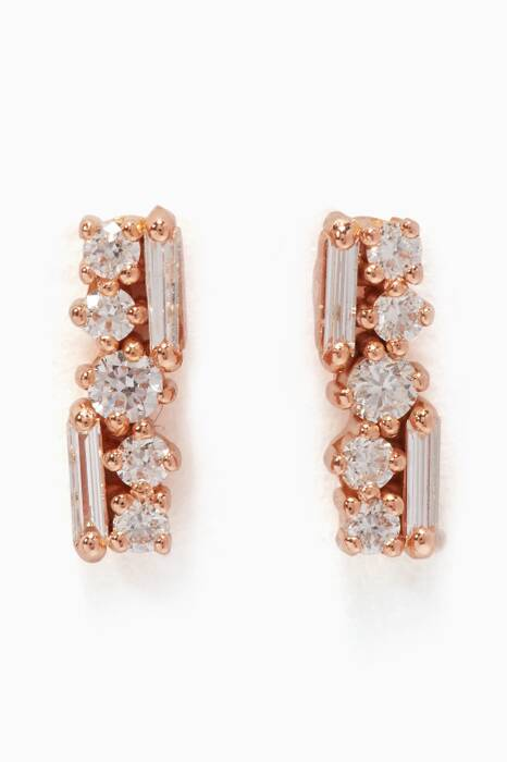 Rose-Gold & Diamond Post Earrings