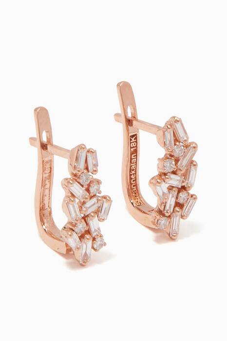 Rose-Gold & Diamond Huggie Earrings
