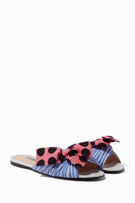 Blue Striped Bow Slippers