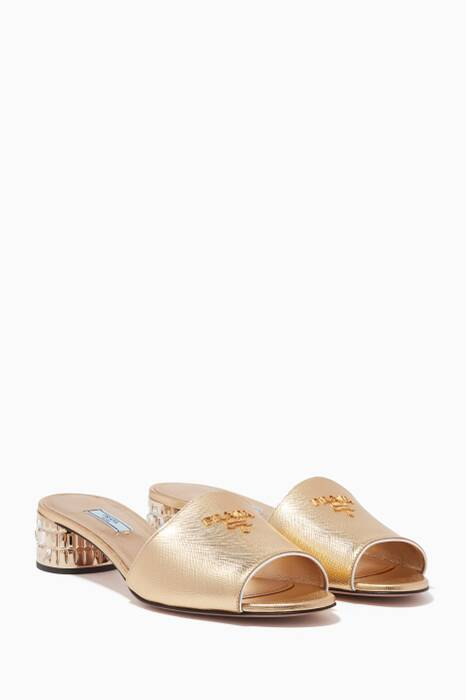 Gold Crystal-Embellished Mules
