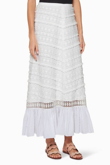 White Benita Embroidered Skirt