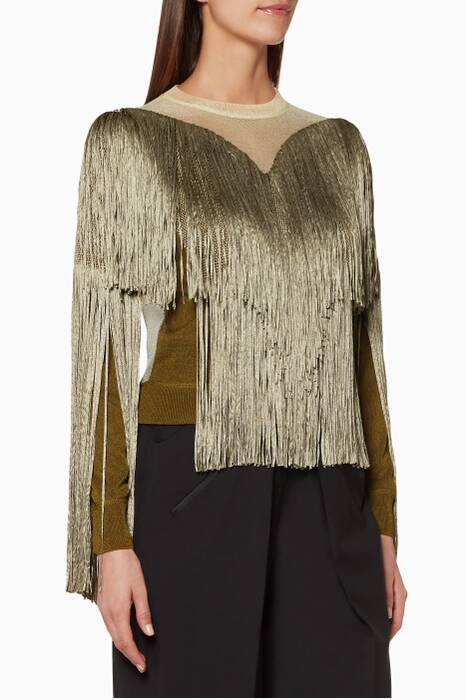 Multi-Coloured Fringe-Detail Knit Top