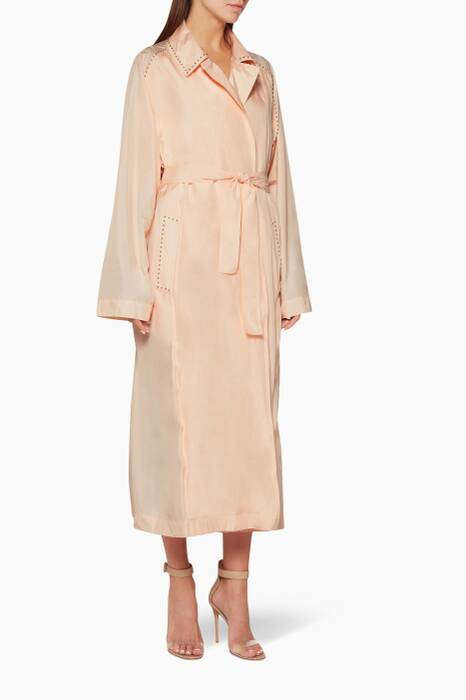 Light-Pink Eyelet-Embroidered Coat