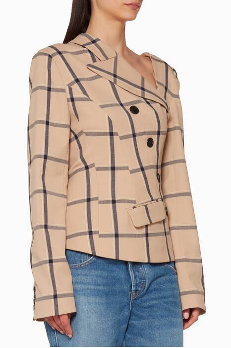 Beige Louise Plaid Twisted Jacket