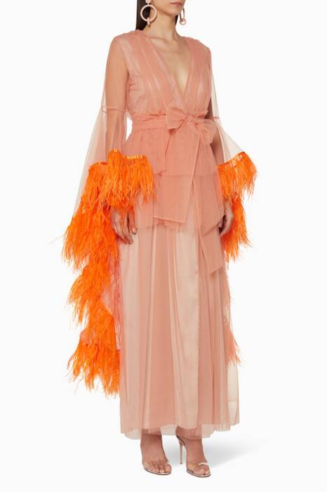 Blush Boudoir Feather-Trimmed Robe Gown