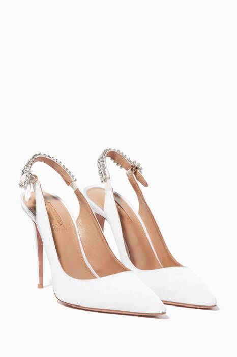 White Portrait Of Lady Sling Pumps