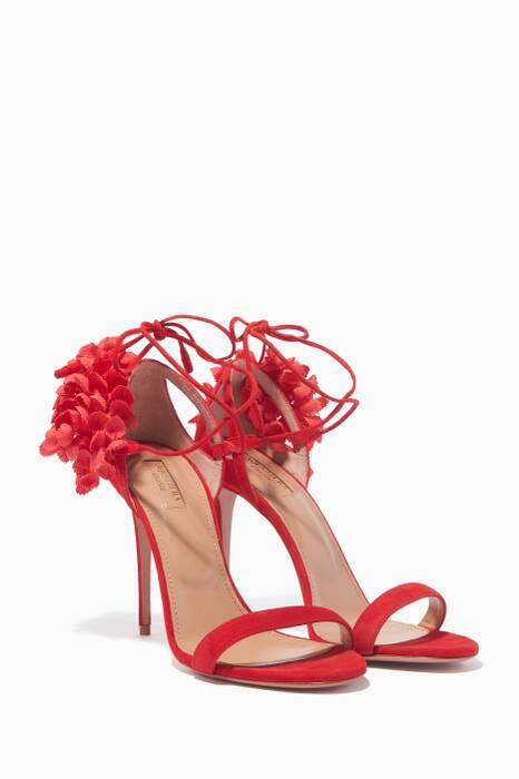 Red Suede Lily Of The Valley Sandals