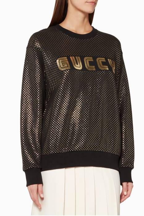 Black Guccy Printed Oversized Sweatshirt
