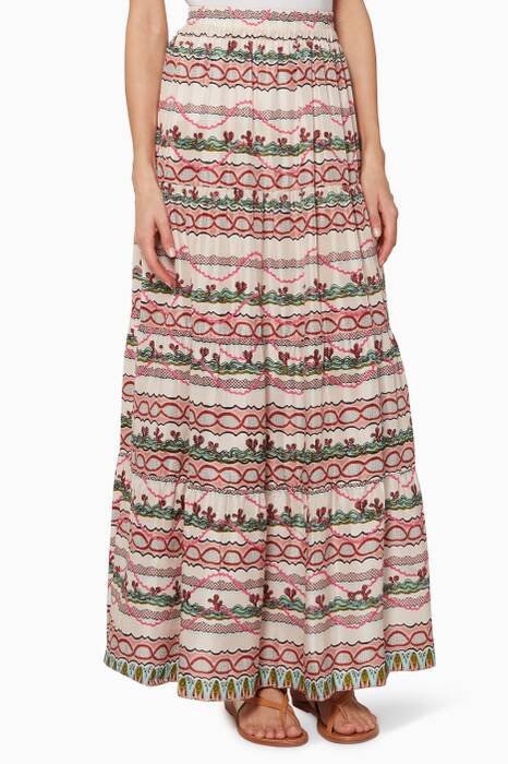 Multi-Coloured Anita Printed Maxi Skirt