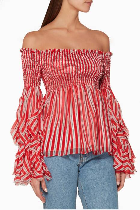Red & White Alessandra Off-The-Shoulder Top