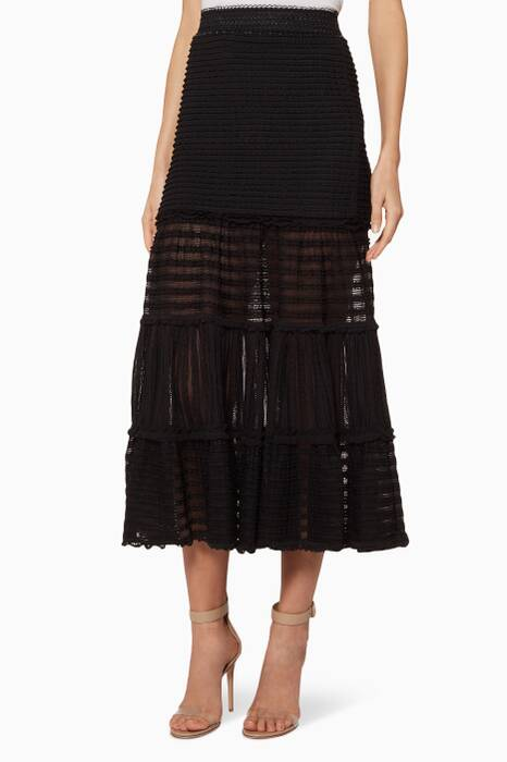 Black Tiered Knit Midi Skirt