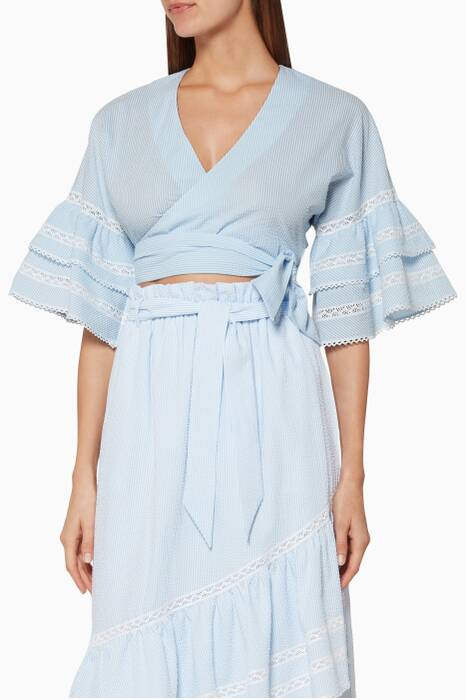 Light-Blue Striped Ruffled Top