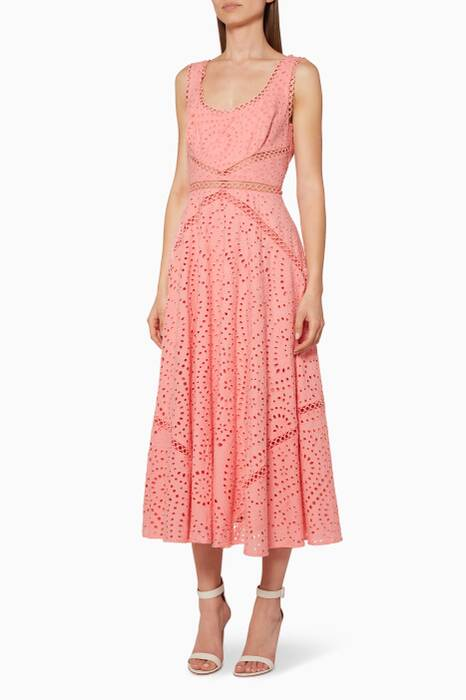Light-Pink Maya Embroidered Midi Dress