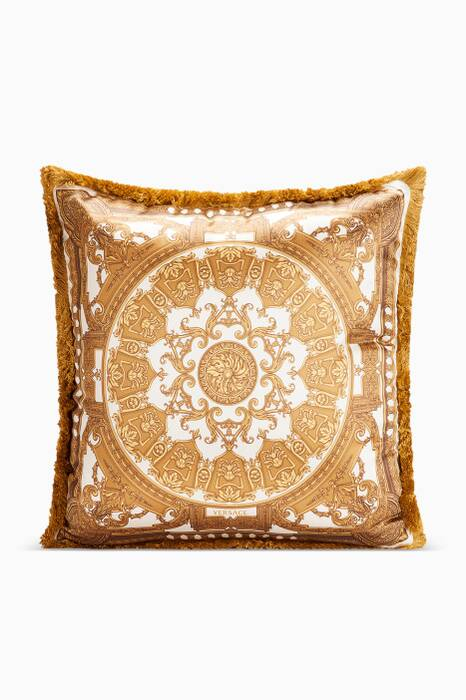 White & Gold Le Petit Dome Baroque Cushion