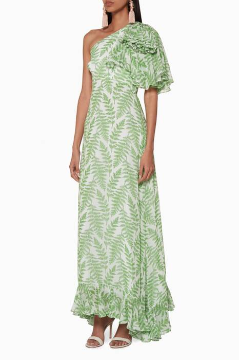 White & Green Danielle One-Shoulder Maxi Dress