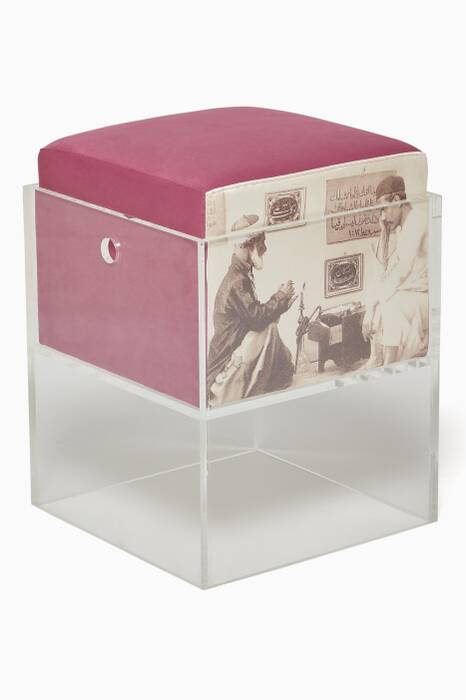 Clear Floating Stool With Vintage Digital Print