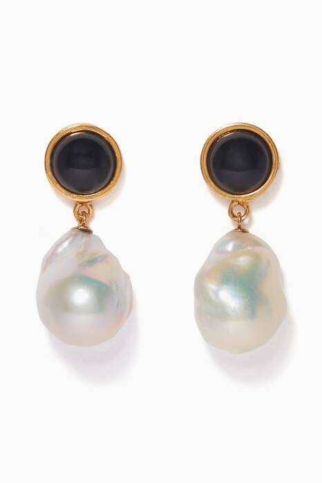 Black Tuxedo Pearl Drop Earrings