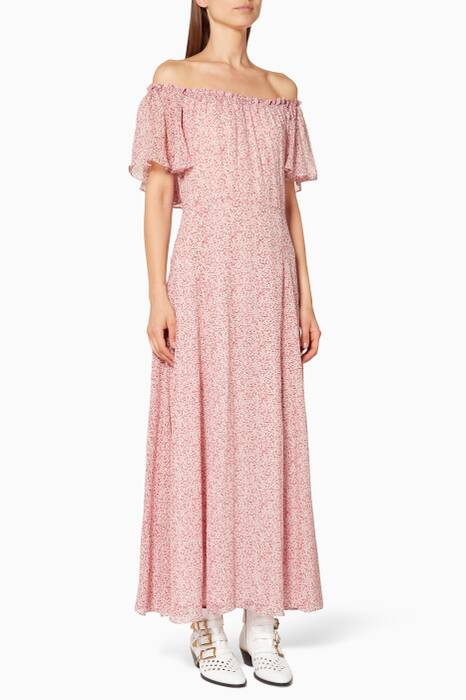 Light-Pink Evelyn Floral-Print Maxi Dress