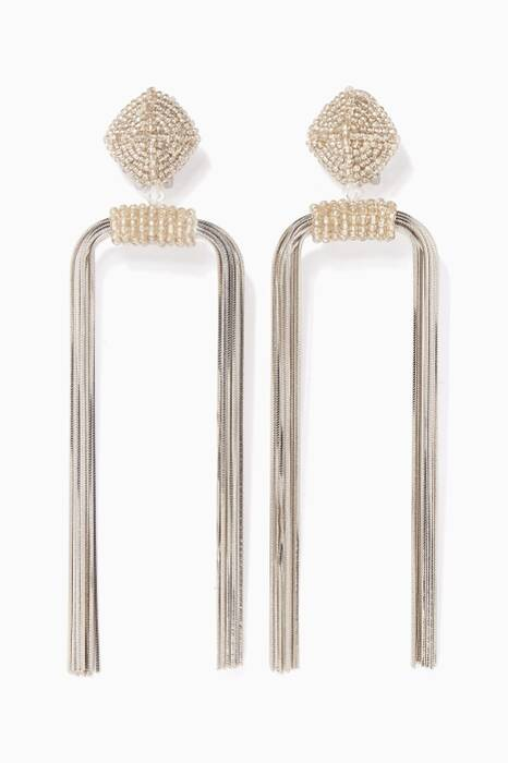 Silver Dupio Metal-Tassel Earrings