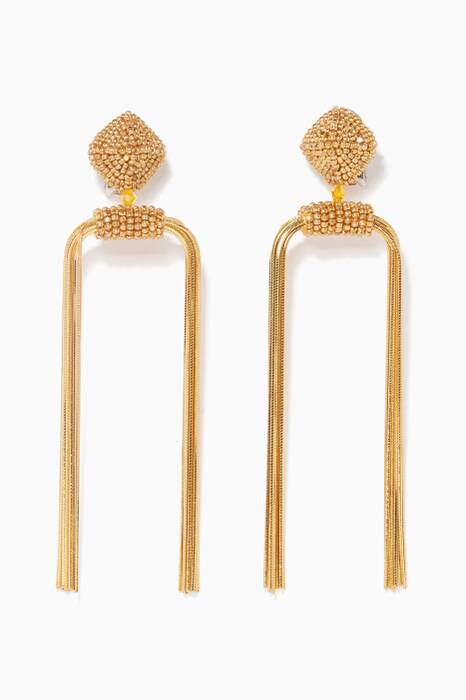 Gold Dupio Metal-Tassel Earrings