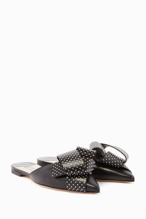 Black & Silver Studded-Bow Gretchen Flat