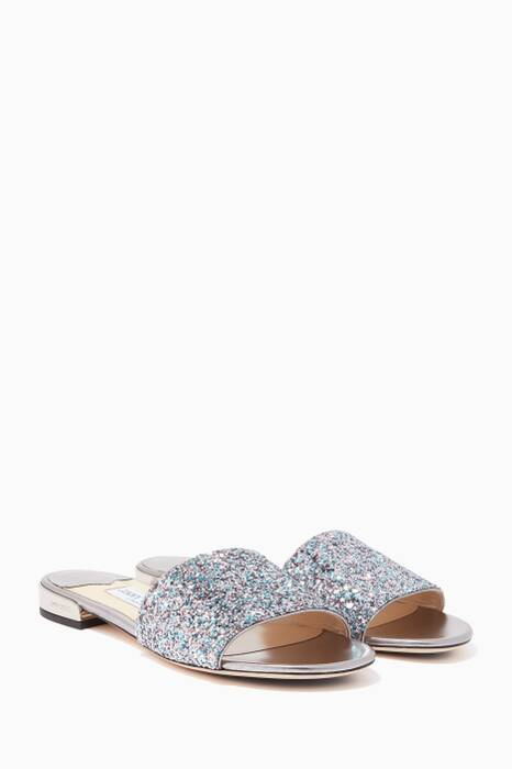 Bubblegum-Blue Glitter Joni Slides