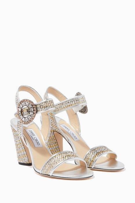 Silver & Crystal Mischa 85 Sandals