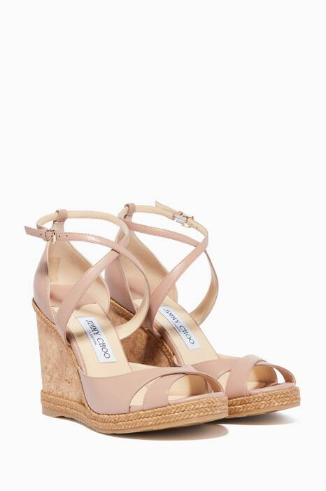Ballet-Pink Nappa Leather Wedges
