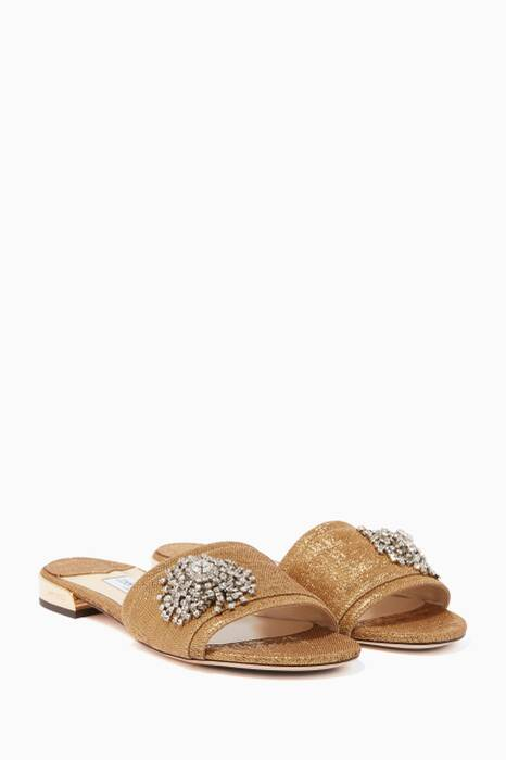Gold Lurex Crystal-Firework Joni Slides
