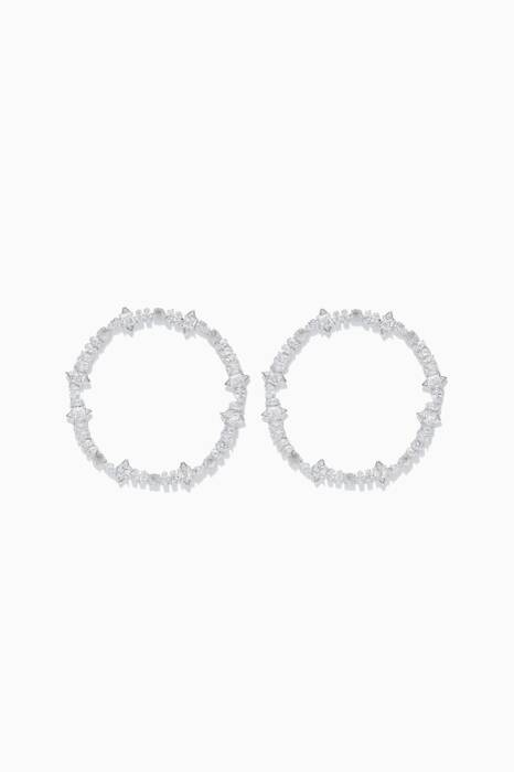 Silver Jagged Edge Cheekbone Hoop Earrings