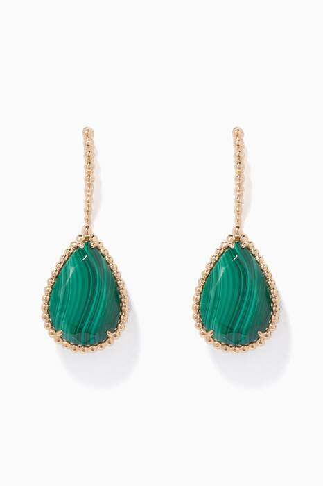 Yellow-Gold & Serpent Bohème Malachite Earrings