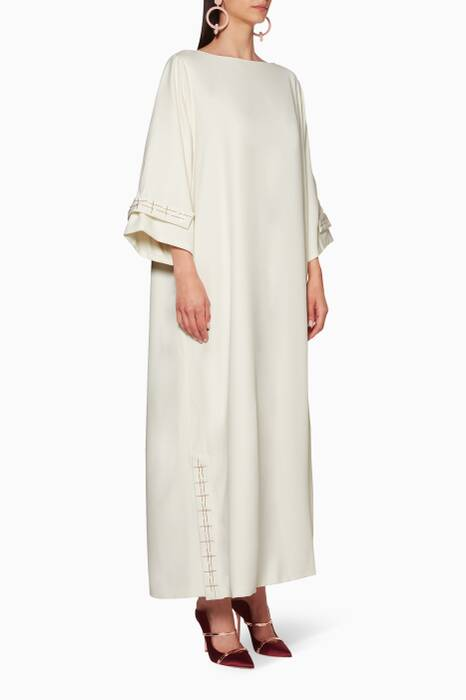 Off-White Embroidered Sleeve Kaftan
