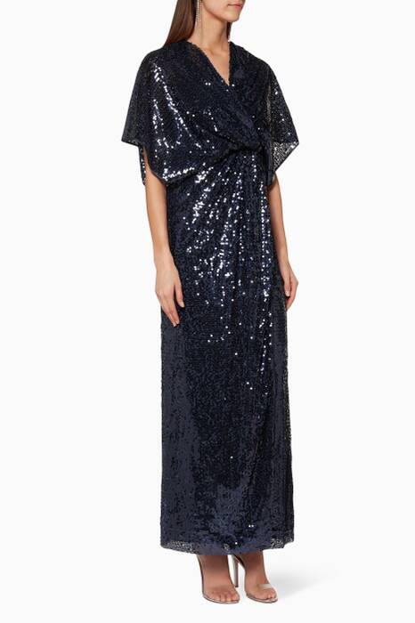 Navy Sequin-Embellished Vanessa Dress