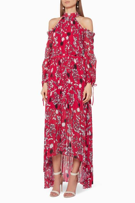 Red Floral-Print Maxi Dress