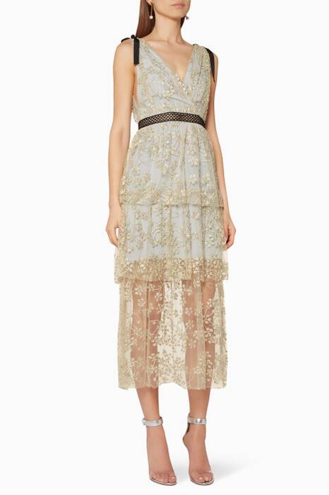 Gold & Light-Grey Tiered Floral Embroidered Mesh Dress