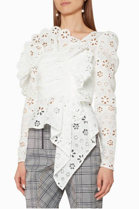 White Asymmetric Floral Broderie Top