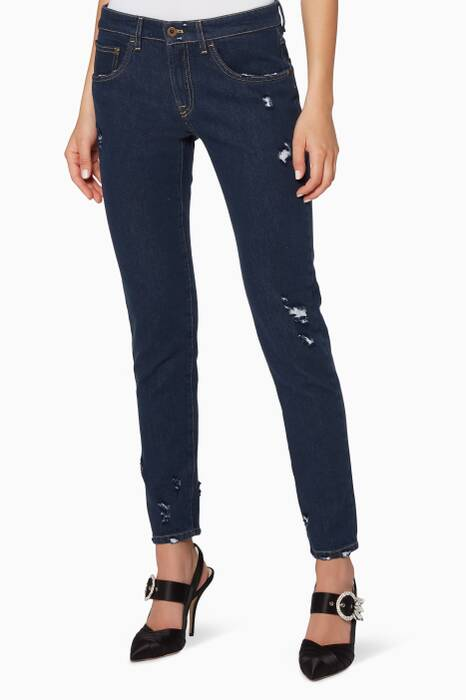 Indigo-Blue Lace-Detail Jeans