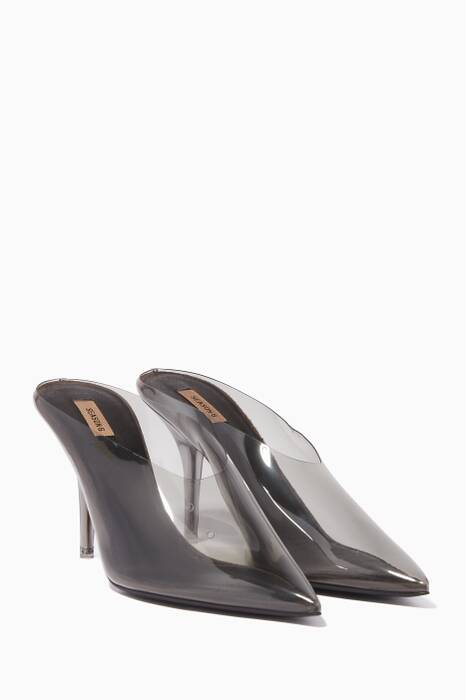 Dark-Grey Transpared PVC Mules