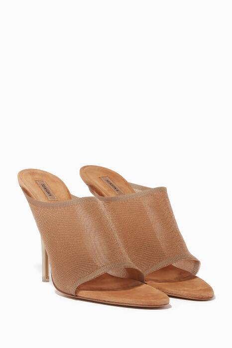 Light-Beige Transparent Knit Mules