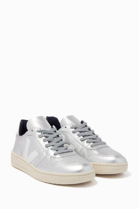 Metallic-Silver V-10 Sneakers