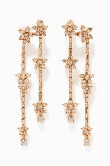 Gold Multi Floral Crystal Drop Earrings