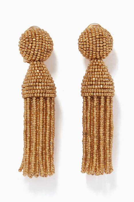 Gold Short Beaded Tassel C Earrings