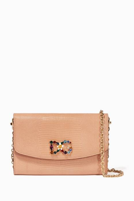 Blush Iguana-Effect Logo Chain Wallet