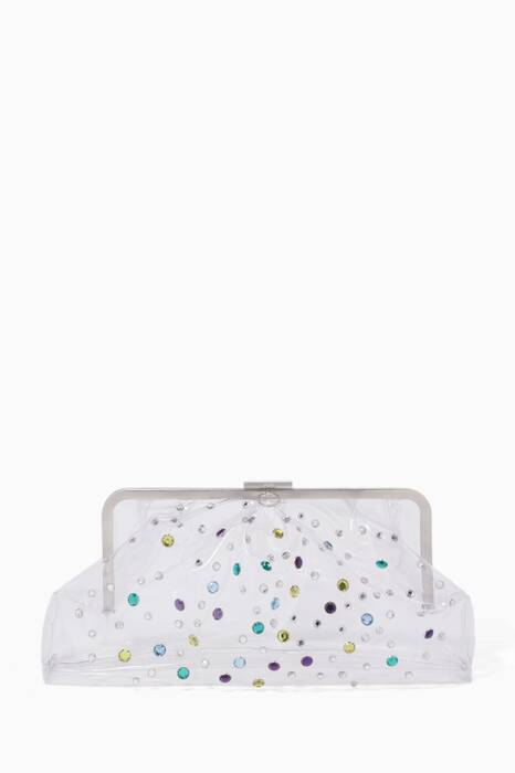 Transparent Cloud Embellished Oversized Clutch