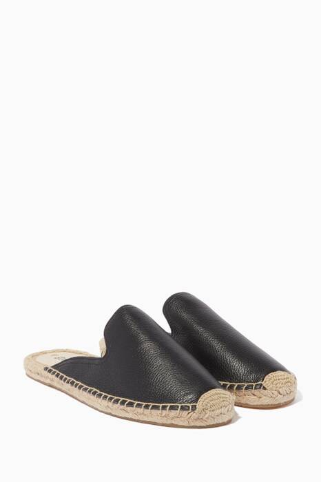 Black Tumbled Leather Mules