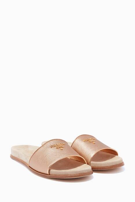 Metallic-Gold Saffiano-Leather Slides