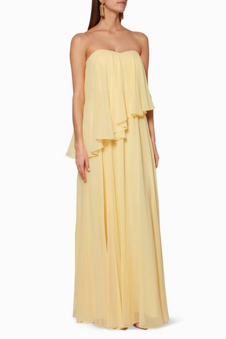 Yellow Strapless Pleated Gown