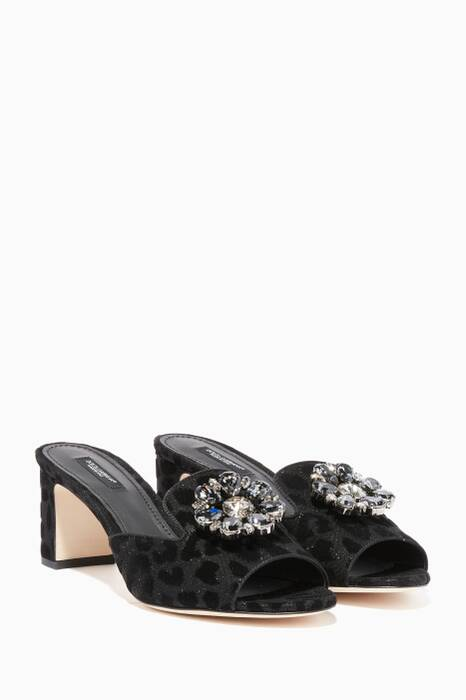 Black Leopard-Print Bianca Embellished Sandals