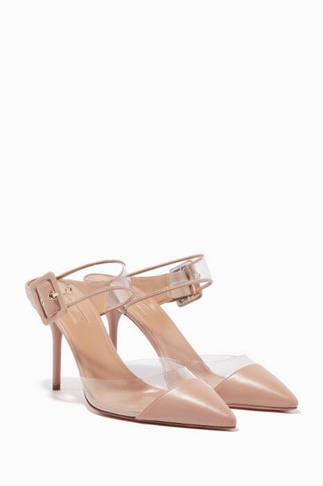 Powder-Pink Optic Point-Toe Mules